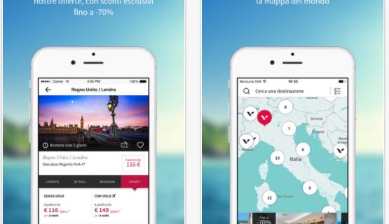 Con l'app Voyage Privé voli in vacanza e risparmi