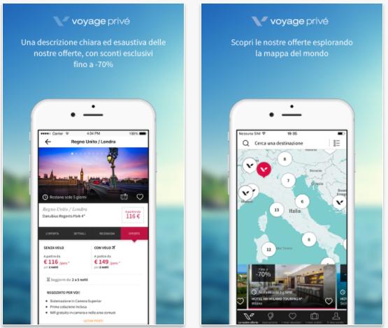 applicazione mobile voyage privé